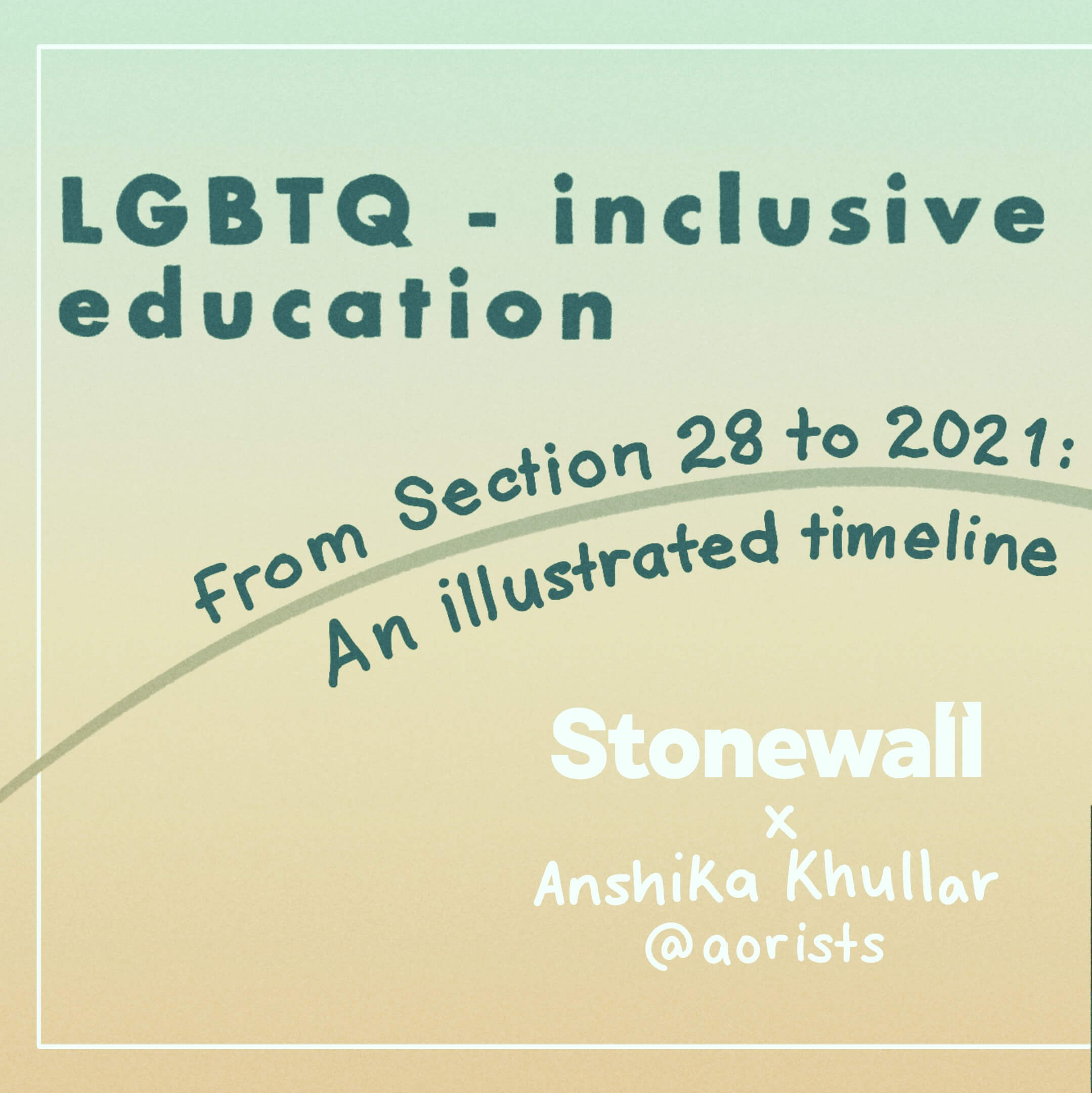 TITLE: LGBTQ-inclusive education. From Section 28 to 2021: An illustrated timeline. Stonewall logo and Anshika's insta handle/name on each slide