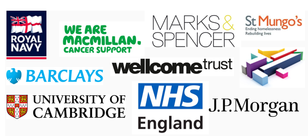 Royal Navy Macmillan M&S St Mungo's Barclays Wellcome Trust NHS England Channel 4 University of Cambridge J P Morgan