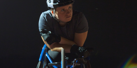 Person in a racing wheelchair