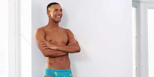 Man in swimming trunks