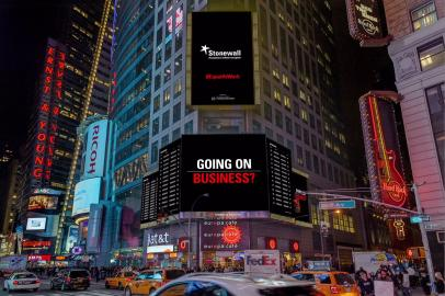 Stonewall's Times Square advert for the Global Workplace Briefings