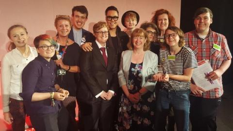 Young people from Who Not What, Ruth Hunt and Gok Wan (Education For All Conference 2016)Young people from Who Not What (Herts for Learning/Hertfordshire County Council), Ruth Hunt and Gok Wan (Education For All Conference 2016)