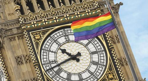 Rainbow flag in front of Big Ben