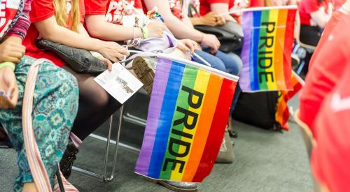 People seated and holding rainbow flags at Pride in London 2015  © Simon Callaghan Photography