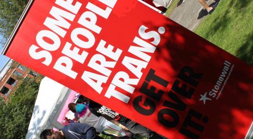 'Some People Are Trans. Get Over It!' banner at Sparkle - National Transgender Celebration 2015