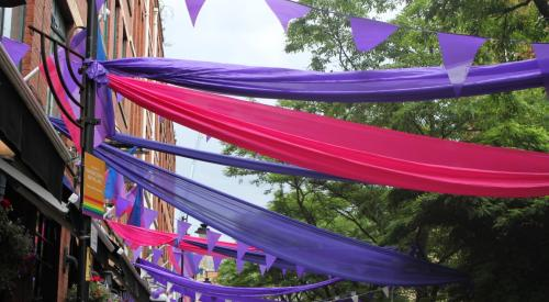 Pink and purple banners and bunting at Sparkle - National Transgender Celebration 2015