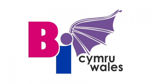 Bi Cymru/Wales logo - text in bi flag colours, with a bat wing coming out of it