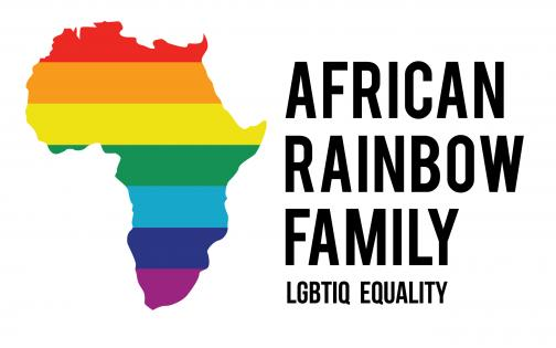 African Rainbow Family logo: a diagram of Africa with rainbow colours