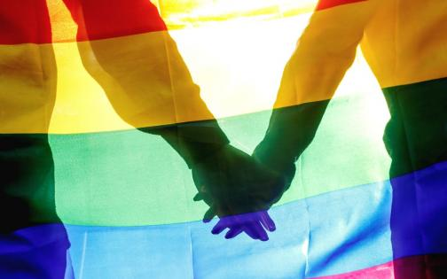 Hands rainbow flag