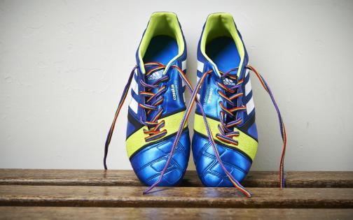 Football boots with Stonewall Rainbow Laces