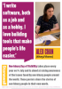 A poster which includes a photo of a person working at their desk, a speech bubble with a quote, and two information boxes