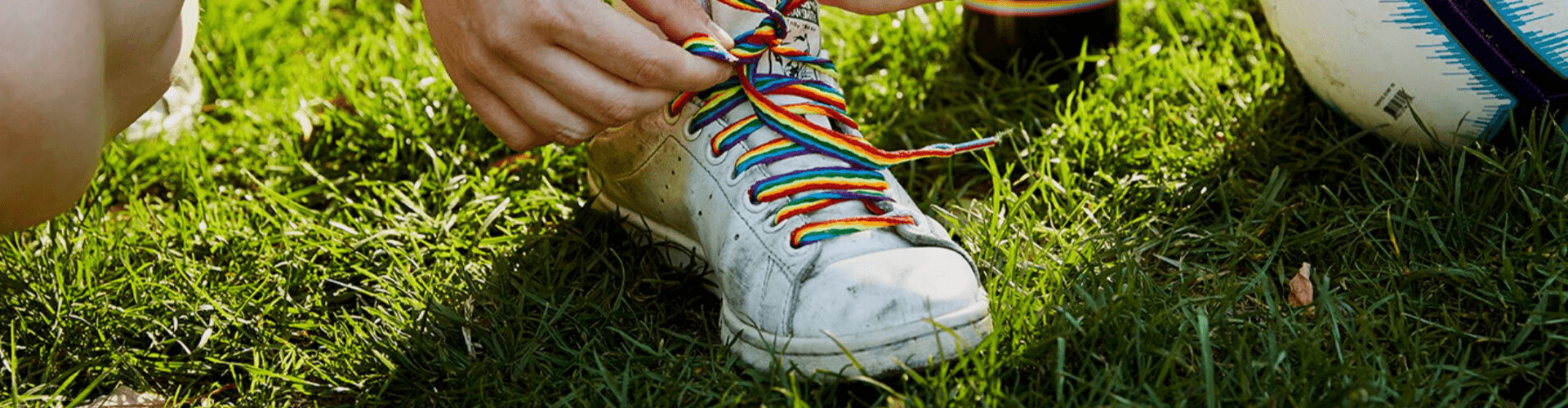 A shoe with Rainbow Laces