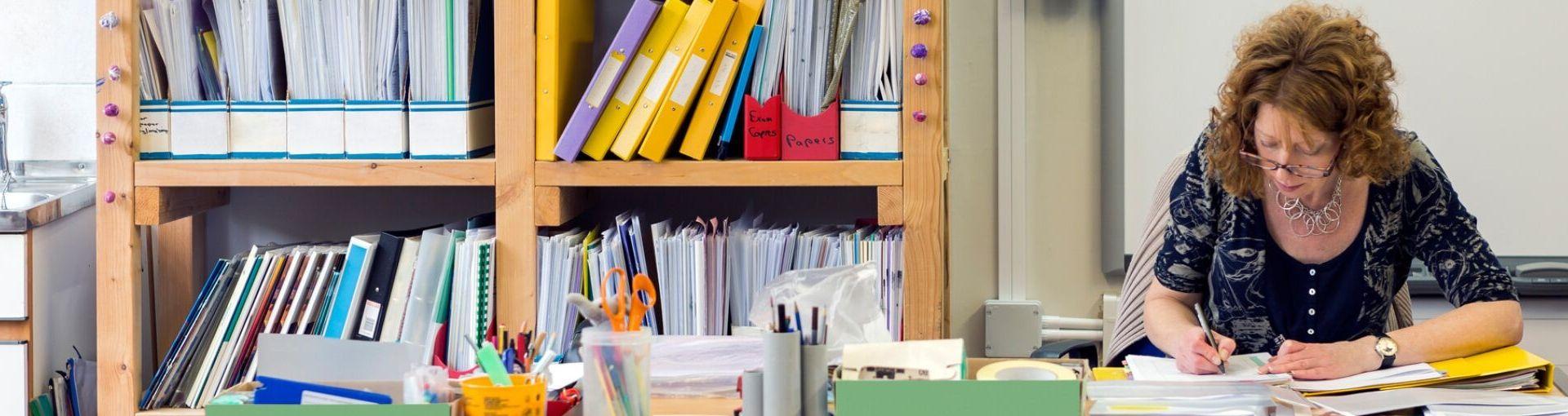 Photo of a teacher working